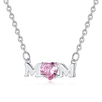 Mom Necklace with Pink Stone - $25.50 with FREE Shipping!