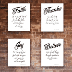 Religious Quotes Wall Decor (Set of 4) - Unframed - 8x10s 85107