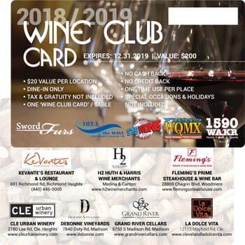 The 2018/2019 Wine Club Card