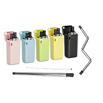 Collapsible, Portable, and Reusable Stainless Steel Drinking Straw with Case - $11.99 with FREE Shipping!