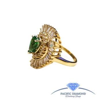 Half Price - 14K Gold • Green Garnet • Diamond Ring
