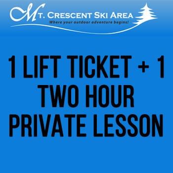 Mt. Crescent Ski Area - 1 Lift Ticket + 1 Two Hour Private Lesson