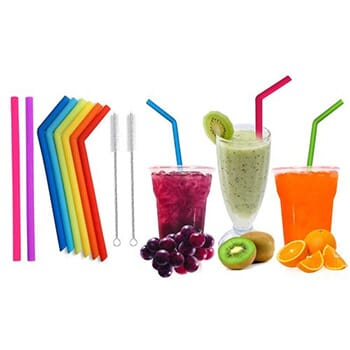 Reusable Silicone Wide Drinking Straws with Cleaning Brushes (10-Pack) With FREE Shipping!-1