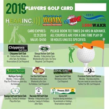 2019 Hearinc Players Golf Card