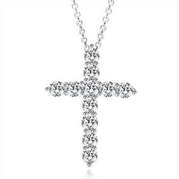 Enduring Faith Cross Simulated Diamond Necklace With FREE Shipping!