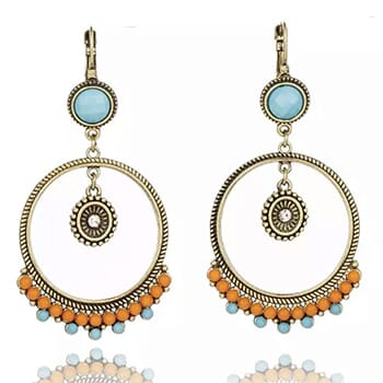 Boho Vintage Hoop Dangle Earrings with Free Shipping!