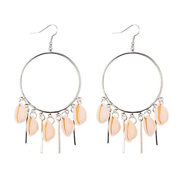 Chandelier Hoop Earrings with Puka Seashells in Gold or Silver with FREE Shipping!