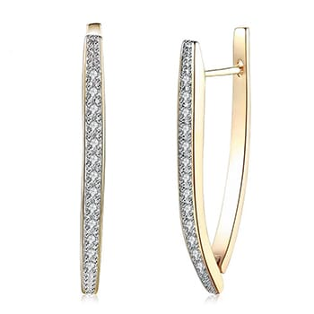 Triangle Hoop Earrings Gold Plate with Swarovski Crystal with FREE Shipping!