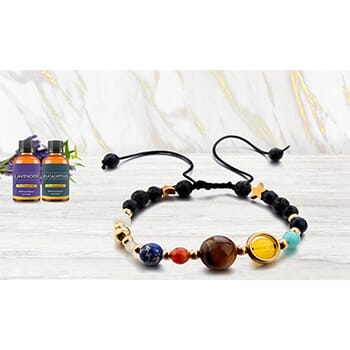 Aromatherapy Solar System Lava Stone Diffuser Bracelet with Essential Oils - $14.99 FREE Shipping!