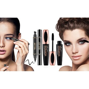 4D Voluminous Silk Fiber Mascara With Waterproof Eyeliner Stamp Kit - $14.99 with FREE Shipping!