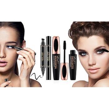 4D Voluminous Silk Fiber Mascara With Waterproof Eyeliner Stamp Kit - $14.99 with FREE Shipping!-1