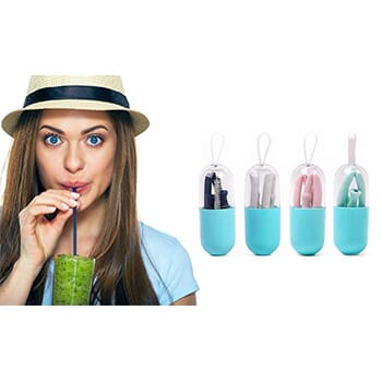 Foldable and Reusable Silicone Drinking Straw with Case - $11.99 with FREE Shipping!