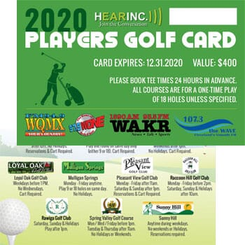 2020 Hearinc Players Golf Card