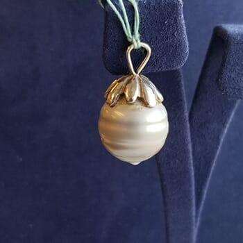 Black Gray Tahitian Pearl Pendant Sterling Silver