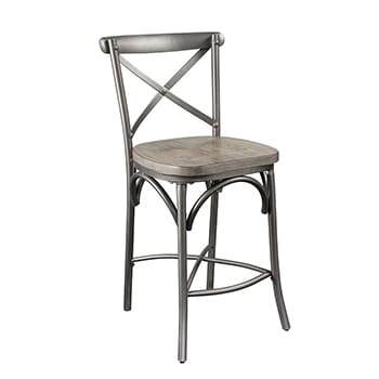 24  Grey Wood & Metal Counter Stools Set!