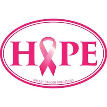 Hope - Breast Cancer White Oval
