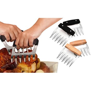 Stainless Steel Meat-Shredding Claws With Wooden Handle (1-Pair) - $12.99 with FREE Shipping!