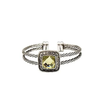 Twisted Cable Cuff Bangle Silver Bracelet With Yellow Austrian Crystal - $25.50 with FREE Shipping!