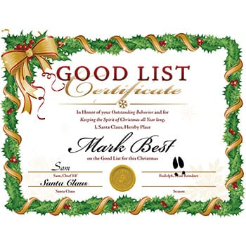 Santa's Good List Certificate - $4.99 with Free Shipping