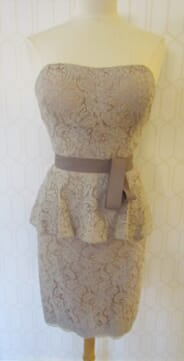 Monicas - 3a - Dove/Taupe all lace peplum strapless Dress by Watters