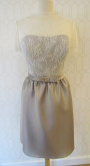 Monicas - 4a - French Faille Taupe and Ivory Dress by Watters