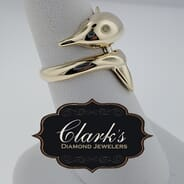 Clarks Diamond Jewelers - 14kt Yellow Gold and Diamond Dolphin Ring