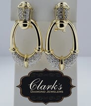 Clarks Diamond Jewelers - 14kt Yellow Gold and Diamond Earrings