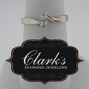 Clarks Diamond Jewelers - 14kt White Gold and Marquise Diamond Ring