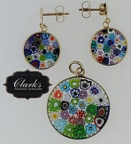 Clarks Diamond Jewelers - 14kt Yellow Gold and Glass Pendant and Earring Set
