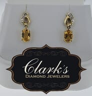 Clarks Diamond Jewelers - 14kt Yellow Gold Citrine and Diamond Earrings