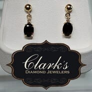 Clarks Diamond Jewelers - 14kt Yellow Gold and Garnet Earrings