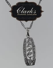 Clarks Diamond Jewelers - 10kt White Gold and Diamond Pendant with Chain