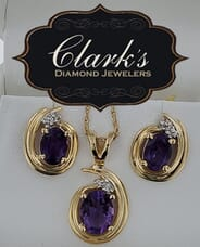 Clarks Diamond Jewelers - 14kt Yellow Gold Amethyst and Diamond Earring and Pendant Set