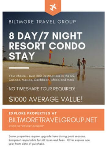 Biltmore Travel Group - 8 Day, 7 Night Resort Condo Stay