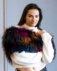 The Fur and Leather Centre - Multi-Color Jewel Tone Dyed Fox Knit Wrap S19-14107