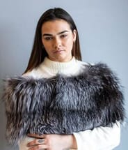 The Fur and Leather Centre - Natural Silver Fox Knit Wrap S19-14141
