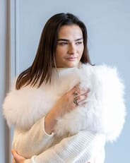 The Fur and Leather Centre - Natural White Fox Knit Wrap S19-14157