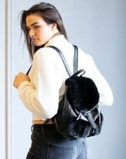 The Fur and Leather Centre - Black Leather Backpack with Ranch Mink Trim S17-12495
