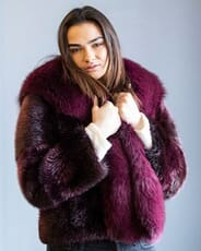 The Fur and Leather Centre - Burgundy Dyed Long Hair Beaver Jacket with Dyed Fox Collar/Tux Front S20-10535