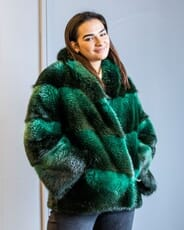 The Fur and Leather Centre - Green Dyed Long Hair Beaver Jacket S20-10524