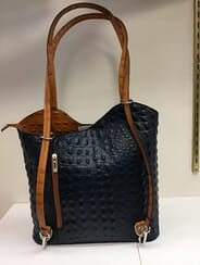 Beck Furs - Moda In Pelle Purse (Navy/Saddle)