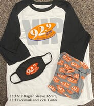 ZZU VIP Gear - Extra Large - An Exclusive ZZU VIP Raglan Baseball Tee, ZZU Gaiter Face Mask and ZZU Face Mask - SIZE XL